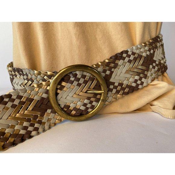 Braided Wide Belt in Various Metallic Colors